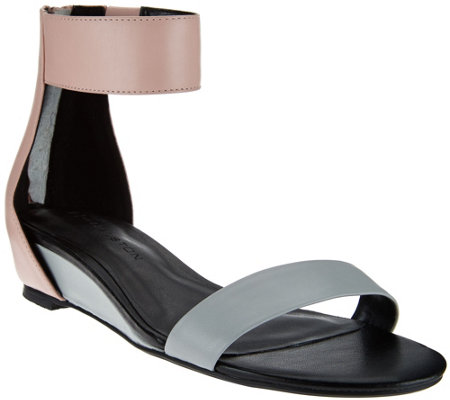 """As Is"" H by Halston Leather Sandal with Mini Hidden Wedge - Bethany"