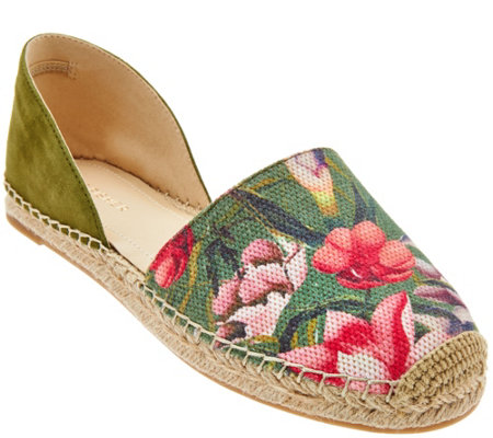 """As Is"" Marc Fisher Two-pc. Espadrilles w/ Floral Detail - Manda"