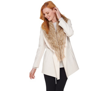 Dennis Basso Faux Leather Jacket with Removable Faux Fur Collar - A284847