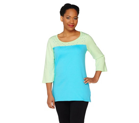 """As Is"" Quacker Factory Sparkle & Shine Color- Block 3/4 Sleeve T-Shirt"