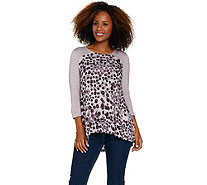 LOGO by Lori Goldstein Printed and Striped Knit Top - A286947