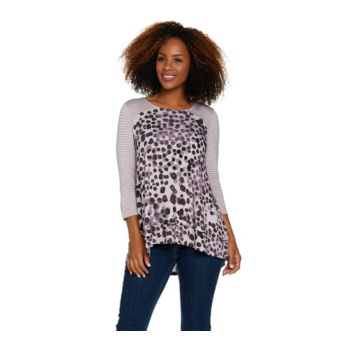 LOGO by Lori Goldstein Printed and Striped Knit Top