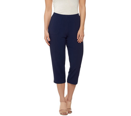 """As Is"" Susan Graver Dolce Knit Comfort Waist Capri Pants"