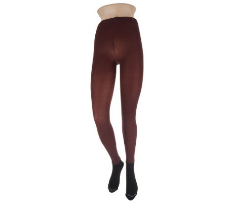 """As Is"" Bootights Semi- Opaque Tights with Attached Cushioned Sock"