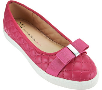 """As Is"" Isaac Mizrahi Live! Quilted Leather Flats with Bow - A287547"