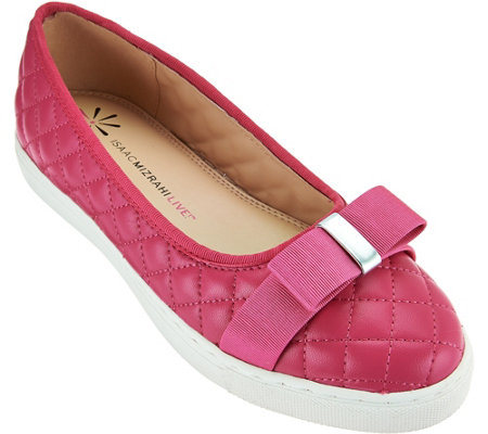 """As Is"" Isaac Mizrahi Live! Quilted Leather Flats with Bow"
