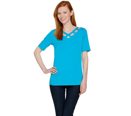Susan Graver Liquid Knit V-Neck Short Sleeve Cut Out Top