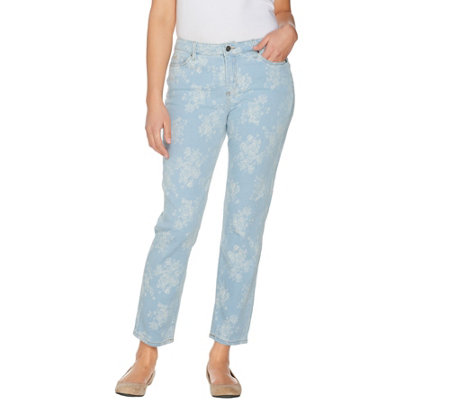 Women with Control Petite My Wonder Denim Bleached Floral Jacquard Jeans