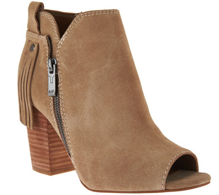 """As Is"" Marc Fisher Suede Ankle Boots w/ Fringe Detail - Novice"