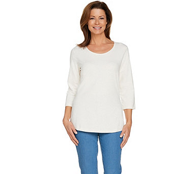 Denim & Co. Essentials 3/4 Sleeve Scoop Neck Top - A290147