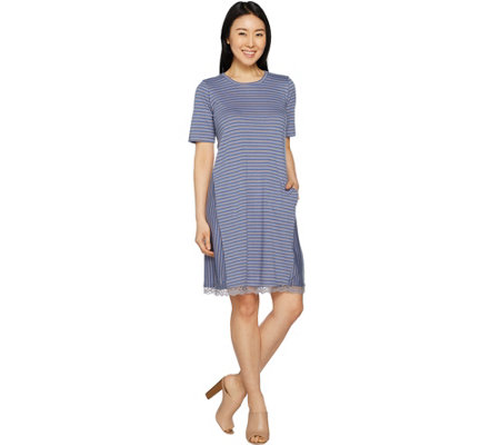 LOGO by Lori Goldstein Stripe Linen Knit Dress with Lace at Hem