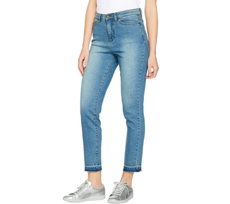 Studio by Denim & Co. Ankle Jeans with Undone Hem Detail