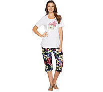 Quacker Factory Tropics Fun T-shirt and Printed Capri Pants Set - A290947