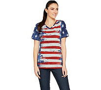 Denim & Co. American Flag Print Short Sleeve V-Neck Top - A291647