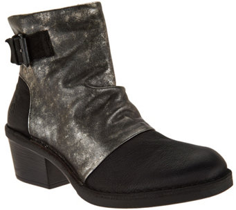 """As Is"" FLY London Leather Block Heel Boots - Dape - A293047"