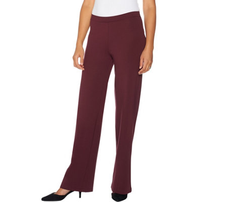 H by Halston Regular Pull-On VIP Ponte Wide Leg Pants