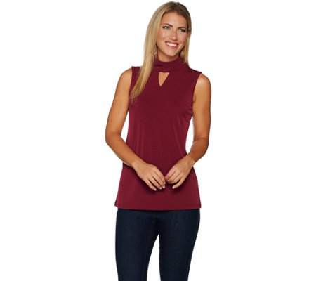 Susan Graver Liquid Knit Mock Neck Sleeveless Top with Keyhole