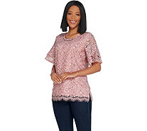 Isaac Mizrahi Live! Bi-Color Floral Lace Tiered Ruffle Sleeve Top - A306447