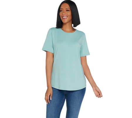 Denim & Co. Essentials Crew Neck Short Sleeve Knit Top