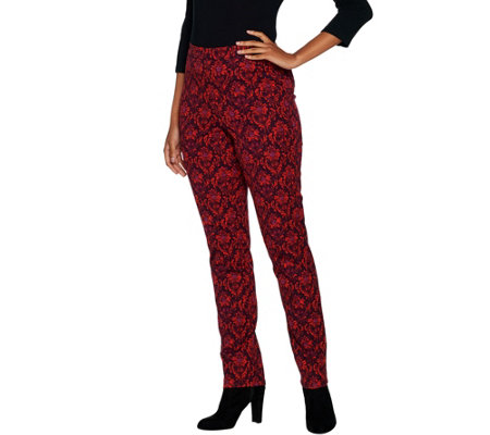 """As Is"" Isaac Mizrahi Live! Petite 24/7 Stretch Scroll Damask Pants"