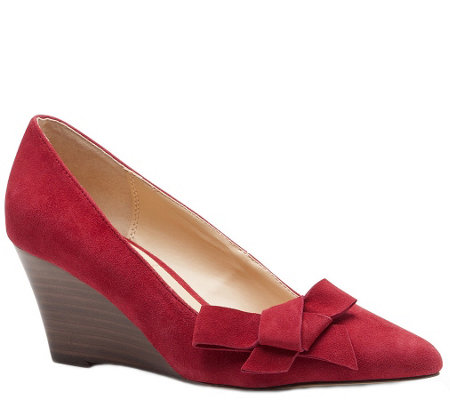 Sole Society Suede Leather Stacked Wedge Pumps- Theirien