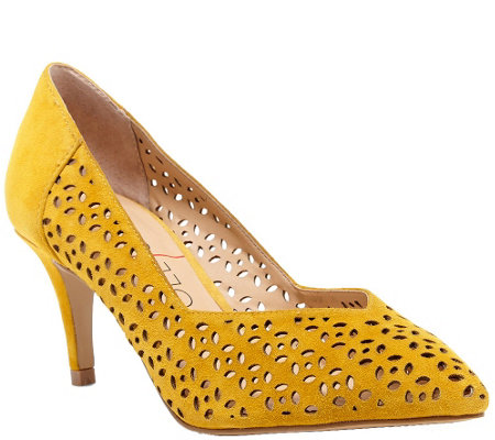 Sole Society Laser Cut Pointed Toe Pumps - Gigi