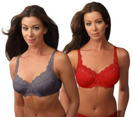 Barely Breezies Set of 2 Microfiber and Lace Support Bras
