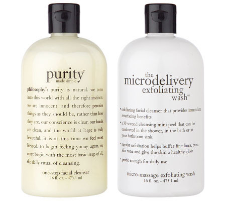 philosophy exfoliating wash & purity cleanser 16oz. duo