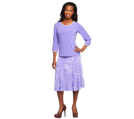 Susan Graver Liquid Knit Piped Solid Top w/Swirl Print Skirt
