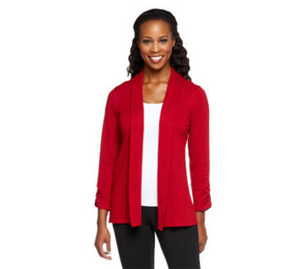 Susan Graver Open Front Cardigan Sweater with Ruched Sleeves - A216948