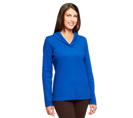 Denim & Co. Long Sleeve Shawl Collar Ribbed Knit Top