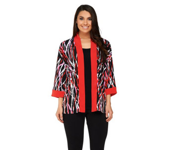 Bob Mackie's Printed Kimono Top with Contrast Solid Trim - A233348