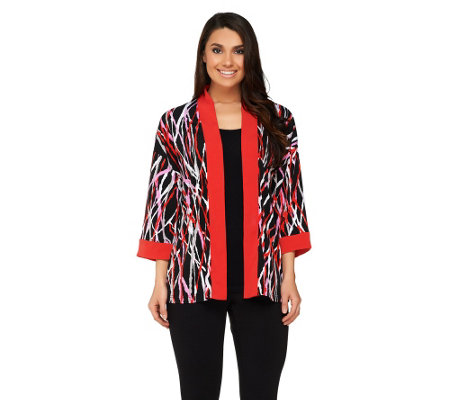 Bob Mackie's Printed Kimono Top with Contrast Solid Trim