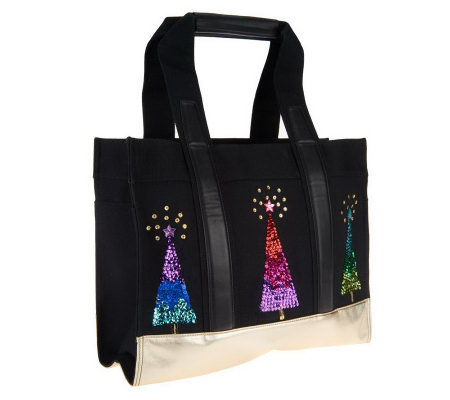 Quacker Factory Metallic Christmas Tree Tote