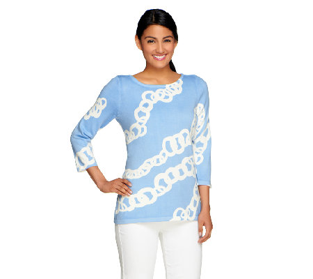 Susan Graver Sweater Knit 3/4 Sleeve Bateau Neck Printed Top