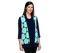 Susan Graver Liquid Knit Polka Dot Vest w/ Solid Liquid Knit Top - A252348