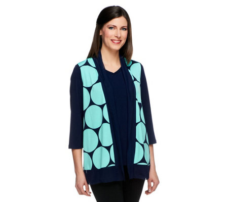 Susan Graver Liquid Knit Polka Dot Vest w/ Solid Liquid Knit Top