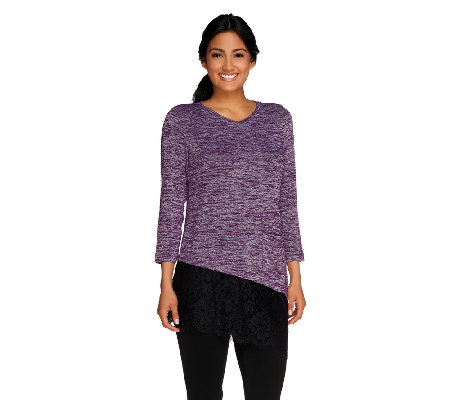 LOGO by Lori Goldstein Knit Top with Asymmetric Lace Hem