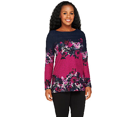 George Simonton Long Sleeve Floral Print Knit Top