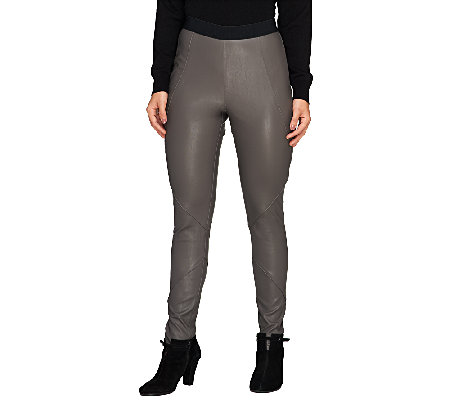 SA by Seth Aaron Faux Leather Slim Legging with Seaming Detail