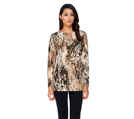 Susan Graver Printed Liquid Knit Top w/ Embellished Keyhole