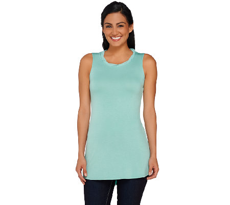 LOGO by Lori Goldstein Knit Tank with Twisted Chiffon Neck Detail