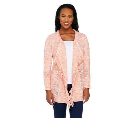 Liz Claiborne New York Marled Mixed Stitch Cardigan w/ Fringe