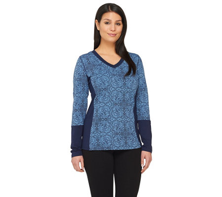 Denim & Co. Active Printed Long Sleeve Top w/ Solid Panels