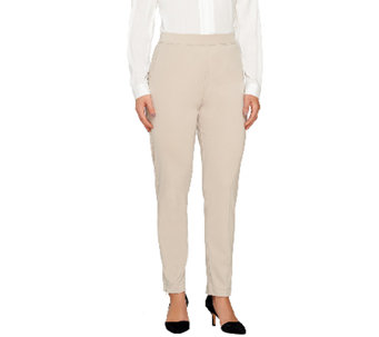 Susan Graver Milano Knit Pull-On Slim Leg Ankle Pants - Petite - A261948