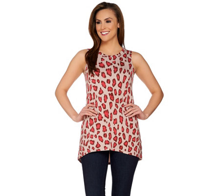 LOGO Lounge by Lori Goldstein French Terry Hi-Low Hem Printed Tank