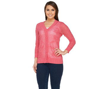 Denim & Co. Button Front 3/4 Sleeve Floral Mesh Sweater - A263648