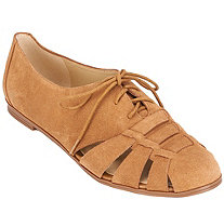 Isaac Mizrahi Live! Fisherman Lace-Up Suede Oxfords - A264248