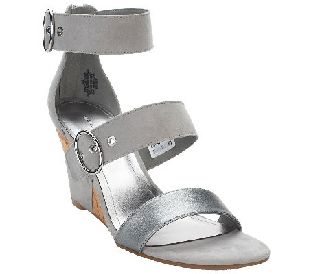 Marc Fisher Suede or Leather Triple Strap Wedges - Camber
