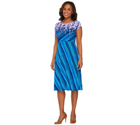 Bob Mackie's Cap Sleeve Printed Jersey Knit Dress